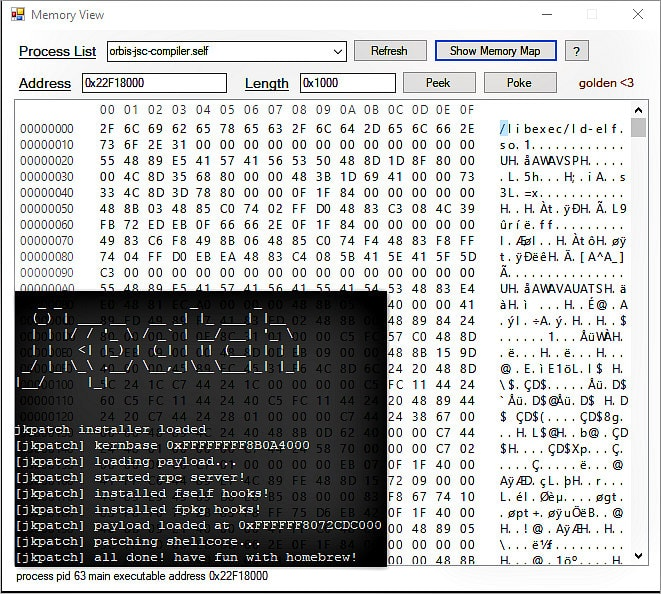 JKPatch PS4 4.05 Jailbreak Kernel Patches, Process Memory View Tool.jpg
