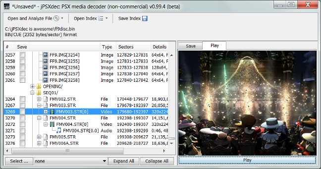 JPSXDec: PlayStation 1 (PSX / PSOne) Audio / Video Converter