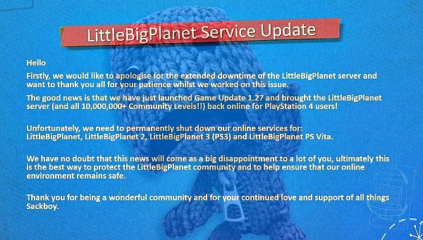 LittleBigPlanet PS4 Servers Return, PS3 and PS Vita Sacked by Hackers.jpg