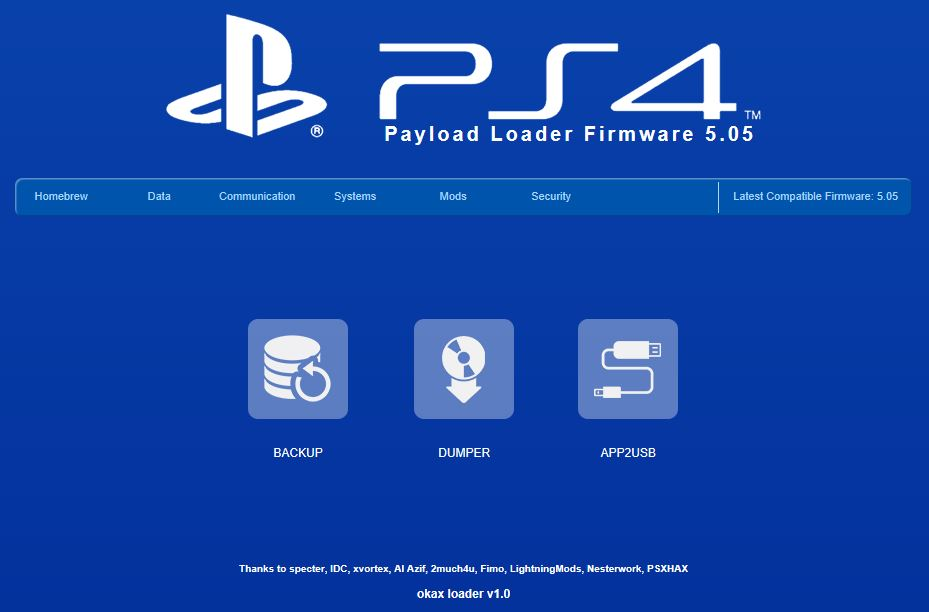 OkaxLoader v1 0: PS4 Playground ESP8266 5 05 Menu by HkN