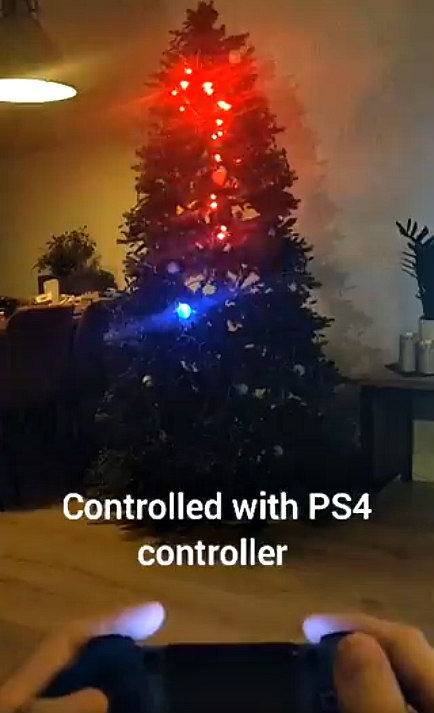 Playing Snake on a Christmas Tree with PS4 Controller by Jordy Moos.jpg