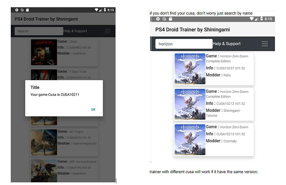 PS4 Droid Trainer: Game Cheats on Android (Online and