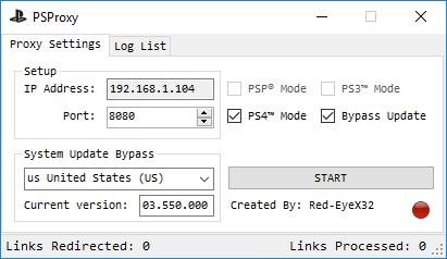 PS4 Update Bypasser PSProxy by Red-EyeX32 to Bypass PSN Updates