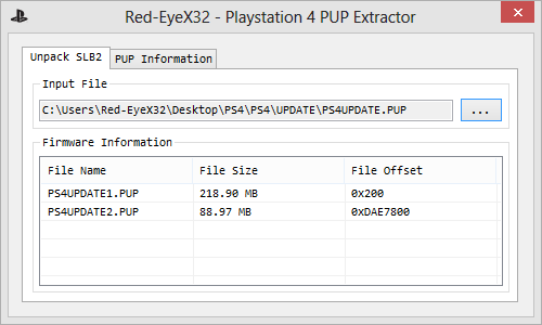 Red-EyeX32 - PlayStation 4 PUP Extractor + Source Code.png